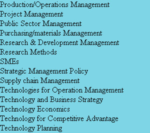 Production/Operations Management Project Management Public Sector Management Purchasing/materials...