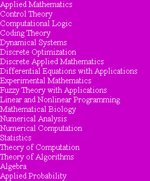 Applied Mathematics Control Theory Computational Logic Coding Theory Dynamical Systems Discrete O...